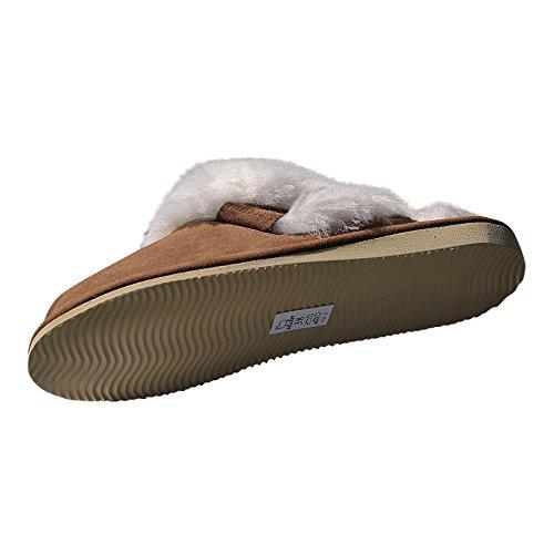 Lammfell Hausschue Pantoffeln Malibu braun/weiß Weiß