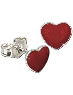 Tee-Wee Kinder Ohrring Herz rot 925 Sterling Silber Kinderohrstecker Kinderschmuck SDO601R