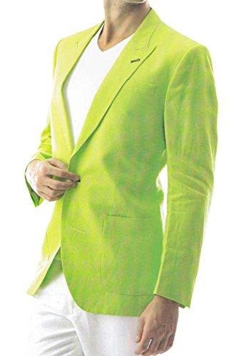INMONARCH, pulsante Blazer Suit LS20 in lino, colore: verde Verde