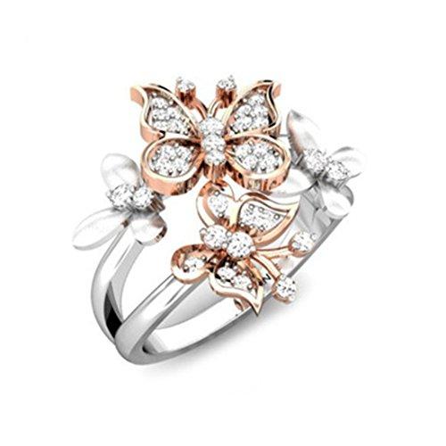 Dollar 20 Silber (Zweifarbiger Schmetterlings Ring Sleek Rose Golden Silver CZ Phoenix Butterfly Band 6)