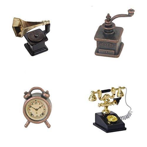 1/12 Miniatur Puppenhaus Puppe Haus französischen Stil Telefon Telefon, Kaffeemühlen, Wecker, Phonograph Französische Puppe-haus