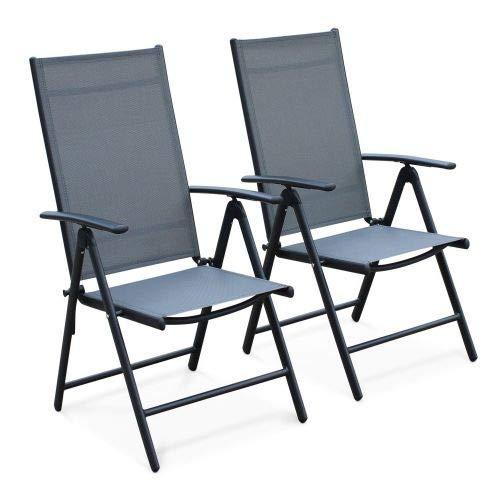 Alice's Garden Lot de 2 fauteuils Multi-Positions Naevia en Aluminium Anthracite et textilène Gris