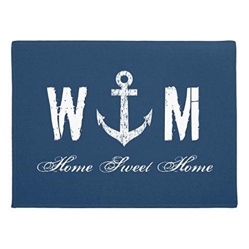 KliwKlol Maritim Anker Monogramm Marineblau Welcome Home Innen vorne Fußmatte 60x 40cm maschinenwaschbar Gummi Fußmatten für Home