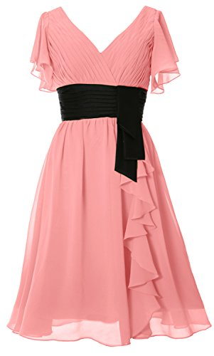 MACloth - Robe - Trapèze - Manches Courtes - Femme Blush Pink