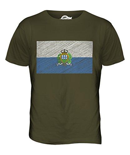 CandyMix San Marino Kritzelte Flagge Herren T Shirt Khaki Grün