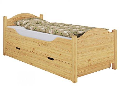 Erst-Holz® Seniorenbett extra hoch Bettkasten 100×200 Kiefer Holzbett Einzelbett Gästebett 60.40-10 S4