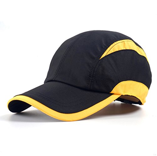 Black Yellow Sporting of Baseball Cap,Quick Dry Lightweight Run Hat Breathable Mesh of Sun Cap Cycling Gym Sport Caps Cooling for Unisex Fashion Men and Woman Outdoor Clothes Under 10 20 Hats XC89