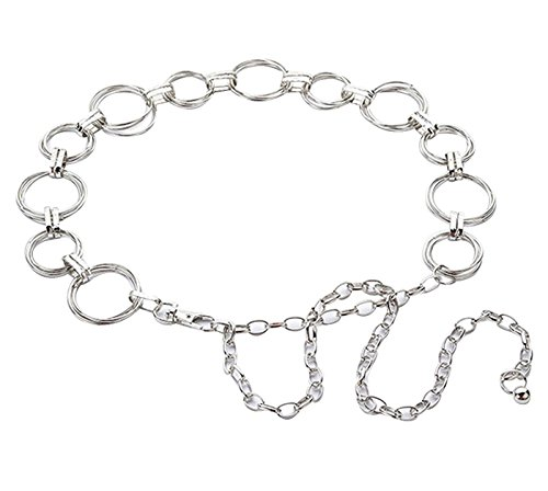 Cheerlife Fashion Damen Metall Taille Kette Gürtel Taillengürtel Hüftgürtel Kleidgürtel Kettengürtel Kleid Dekoration Silber