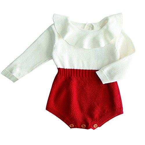 Funnycokid Neugeborene Baby Mädchen Stricken Strampler Weiß Rüschen Hals Lange Ärmel Kleinkind Bodys Overalls (Ärmel Großen Lange Weiß)