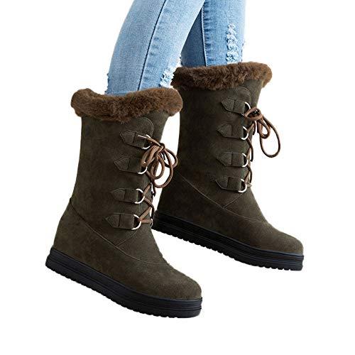 TianWlio Frauen Herbst Winter Stiefel Schuhe Stiefeletten Boots Stiefel Mode Retro Rücken Reißverschluss Runde Zehen Erbsen Schuh Flache Flache Schuhe Short Boot Grün 37