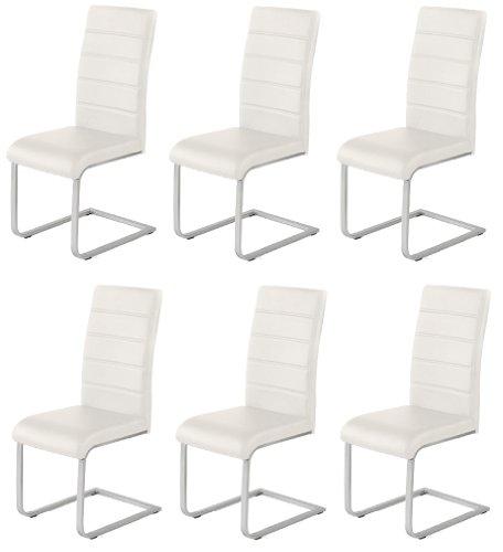 Produktabbildung von 6 x Design Stuhl Freischwinger Piet 32 Kunstleder weiss Esszimmerstuhl