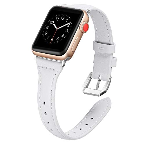 Dolank for Apple Watch Strap 38mm / 42mm Slim Replacement Leather Band Sport Bracelet for Nike Iwatch, 3 2 1 Series, Edition Stainless Steel Buckle, White, 38mm