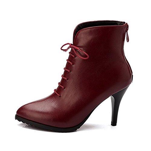 AgooLar Damen Hoher Absatz Weiches Material Niedrig-Spitze Rein Reißverschluss Stiefel Weinrot