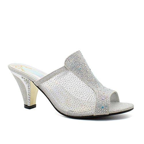 London Footwear ,  Damen hinten offen Silber