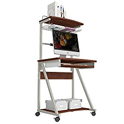 Lapdesks MAZHONG Wood Computer Desks Trolley Table With Keyboard Tray And Storage Shelves For Small Spaces Home Office Furniture (Color : A)