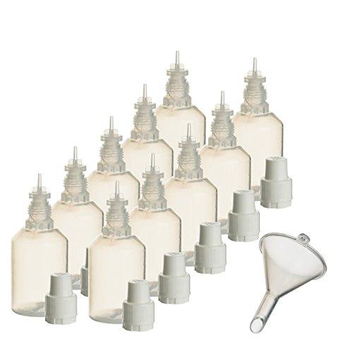 10 x 30 ml Liquidflaschen mit Füll-Trichter für E-Liquids E-Zigaretten e-shisha Plastik-flasche Dosier-flasche Spritz-flasche Leer-flasche Tropf-flasche Quetsch-flasche Nadel-flasche PP -