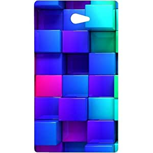 Casotec Blocks Rainbow 3D Graphics Design Hard Back Case Cover for Sony Xperia M2