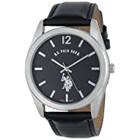 U.S. Polo Assn. Mens Quartz Watch, Analog Display and Leather Strap USC50005