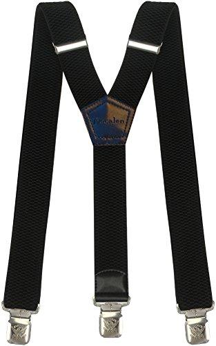 Hosenträger für Herren breit extra starken 4 cm mit 3er Clips Y-Form Lange für Männer und Damen Hose (Schwarz 1)