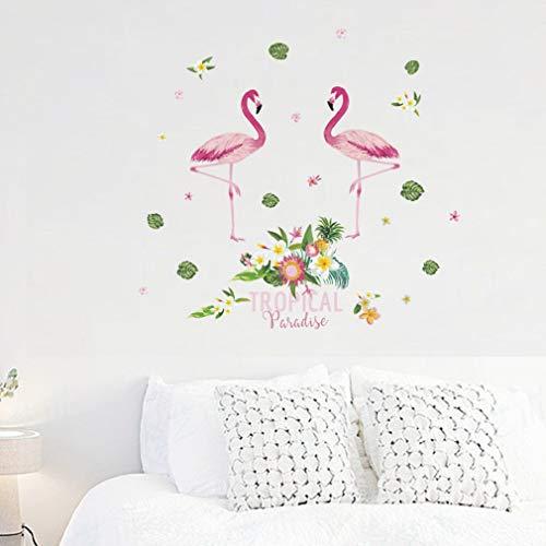 Leidenschaftliche Flamingo Blume Wandaufkleber Wohnkultur Wohnzimmer Schlafzimmer Cartoon Tier Wandtattoo PVC Wandkunst DIY Poster (D) -