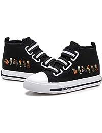FONLONLON Plants vs. Zombies Congestión no en pies Calza los Zapatos Planos de los niños Zapatos de Lona Suela de Goma cómodo del Alto-Top Calzado (Color : Black11, Size : EU36 US5.5M)