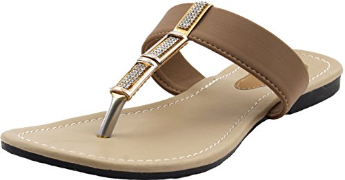 Karat Gold Women's Synthetic Slippers | Ladies Slippers | Brown Slippers |Casual Slippers | Chappals