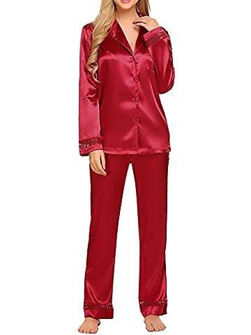 HOTOUCH Midnight Ladies 2-piece Satin Pajama Set With Tie Red XXL