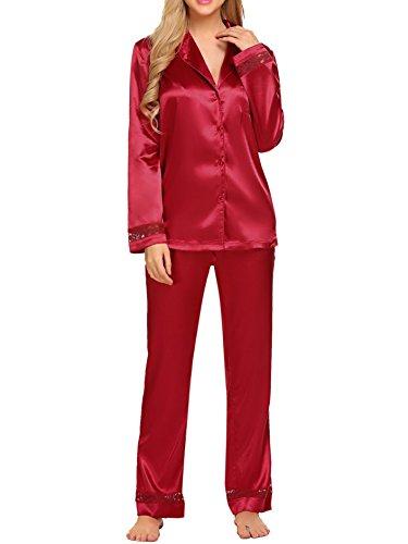 HOTOUCH Femme Ensemble Pyjama en Satin Fermeture Boutonné Haut et Bas de Nuit Rouge XL