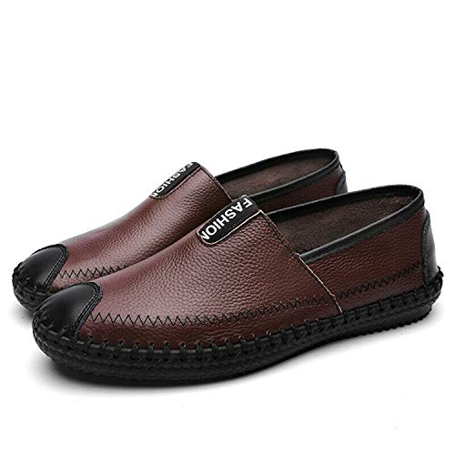 Hollow Out Casual Men Shoes Pull On Summer Leather Shoes Driving Moccasins Low Brown UK41=US9.5=EUR 44