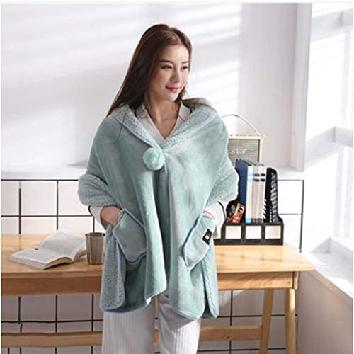Ky&cl caldo scialle, caldo scialle coperta, fatto di flanella, adatto per camere da letto, dormitori, biancheria da letto (verde chiaro),onesize\170 * 65cm