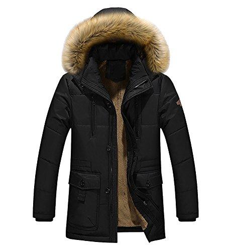 Uomo caldo oderato pesante cappotto invernale con cappuccio della peluche trench giacca con cerniera parka nero large