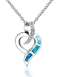 Dormith® Plata de ley 925 Ópalo azul sintético collares para las mujeres Corazón colgante de collar rodio moda joyas