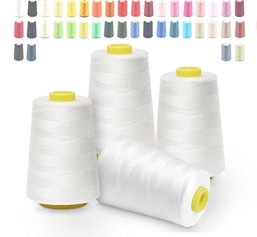 Cubewit Overlockgarn weiß Nähgarn 4 Konen 5000 Yard, Overlock konen Garn Bastelmaterialien für Nähmaschine,100% Polyester -