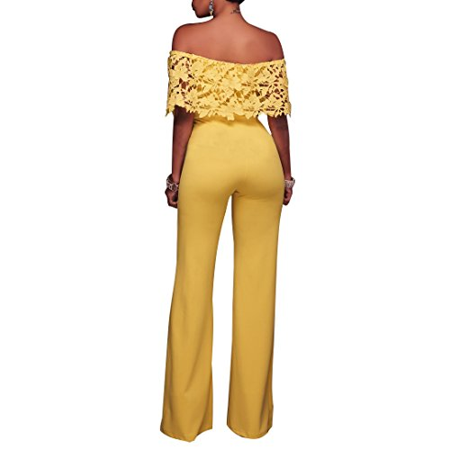 Synker Damen Jumpsuit Schulterfrei Wide Leg Lang Hosen Overall Playsuit Party Abendmode Gelb