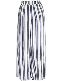 Mujer Pantalon Anchos Pantalon Pirata Verano Elegantes Moda Casual  Pantalones Anchos Cintura Alta Lindo Chic Flecos 3a6379516275