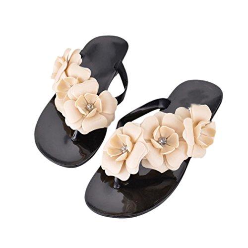 Uomogo® sandali da donna,bohemia heel piatto infradito scarpe da spiaggia pantofole femminili (cn:40, rosa)