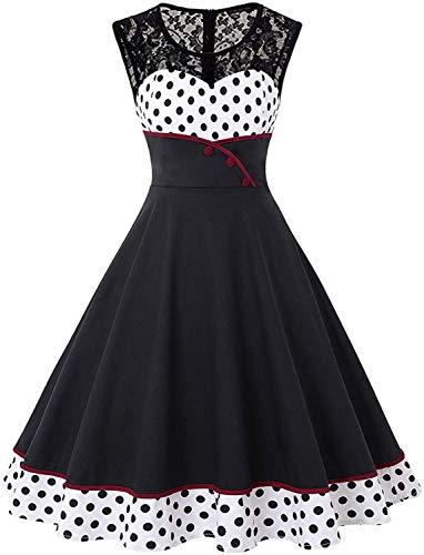 Swing Kostüm 50's - MisShow Damen Elegant 1950er Rockabilly Kleid Spitzenkleider Polka Dots Retro Vintage Petticoat Kleider Faltenrock, Weiß, S