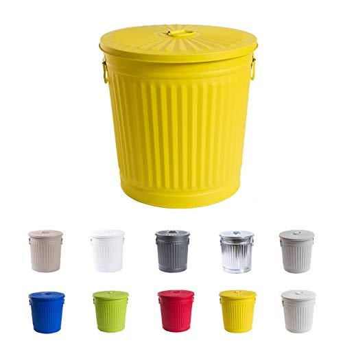 Home&Decorations Abfalleimer Mülleimer Vintage Wäschebehälter Deckeleimer Mülltonne mit Tragegriffen (Ø 29 cm, Höhe 31,5 cm, Gelb)
