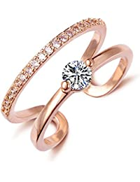 AllThingsCharmed Lumini Diamos AD Solitaire Lines American Diamond Rose Gold Adjustable Ring With Luxury Gift...