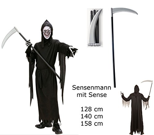Kinder Kostüm Sensenmann + Sense - Gr. 140 cm - Robe Gürte, Maske Kapuze Sense Halloween (Kostüm Kinder Sensenmann)
