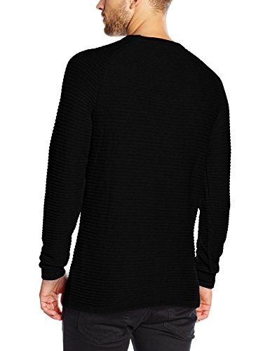 JACK & JONES Herren Pullover Jcowind Knit Crew Neck Noos Schwarz (Black Fit:Knit Fit)