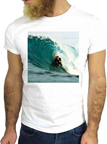 T SHIRT JODE Z3135 SURF CALIFORNIA BEACH SANTA MONICA COOL SURFING COOL ROCK GGG24 BIANCA - WHITE
