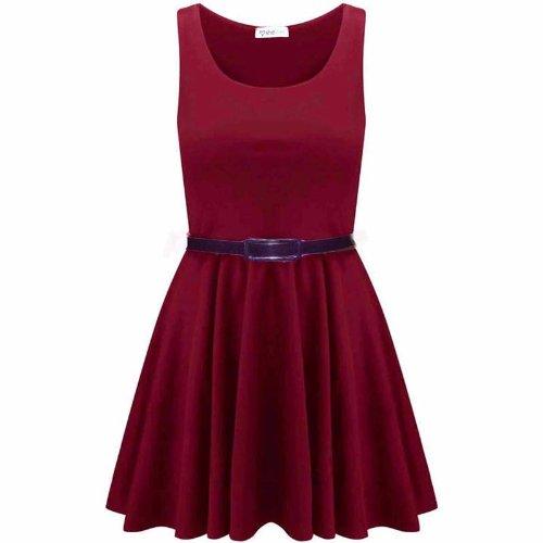Juliet's kiss roller-robe pour femme avec ceinture délivré franki courte sans manches en jersey haut de soirée Rose - Rouge bordeaux