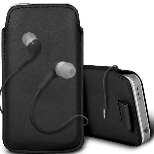 Gadget Giant Étui en cuir synthétique pour iPhone 5 Noir avec Languette pour & assorti Hansfree stéréo intra-auriculaires 3,5 mm