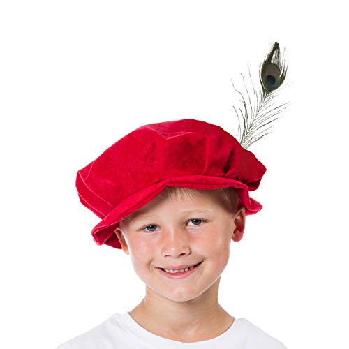 Unbekannt Charlie Crow Rote Historische Mütze mit Feder - Kostüm für Kinder. Einheitsgröße (3-10 Jahre)