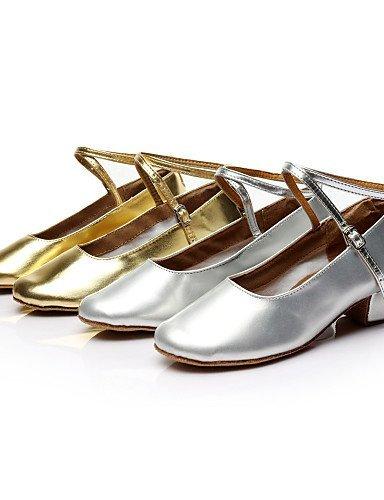 ShangYi Chaussures de danse (Argent/Or) - Non personnalisable - Gros talon - Similicuir/Paillette - Moderne Gold