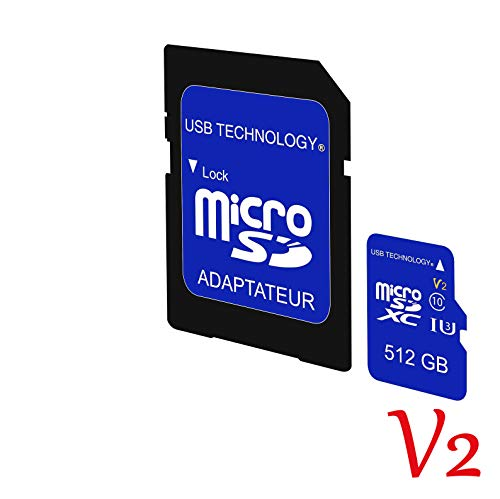 SD 512 Gb - V2 - Ultraschnell - REAL KAPAZITAT + Adapter High Speed - Micro SD Karte U3 Up Speicher Class 10 + SD Kartenl ()