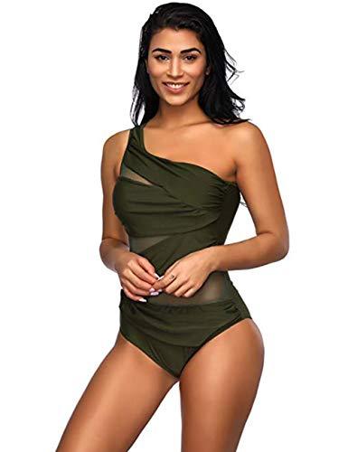 86e179de800765 FeelinGirl Damen One Shoulder Badeanzug - Einteiliger Mit Asymmetrischer  Schulter Einteilige Gaze Badebekleidung Bikini Set XL Türkis