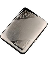 CaLeQi Caja De Cigarrillo De Acero Inoxidable Color De Plata, Sostiene Cigarrillos 16. (