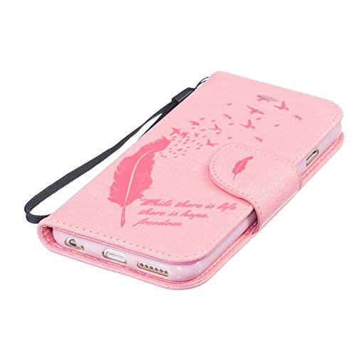 iPhone 6S Custodia Portafoglio con Strass, Tebeyy sottile Premium [Portafoglio in pelle Flip Book], Cover con Supporto, [chiusura magnetica] [Card Slot], per Apple Iphone 6/6S 4.7, lusso strass elegan Feather,Pink
